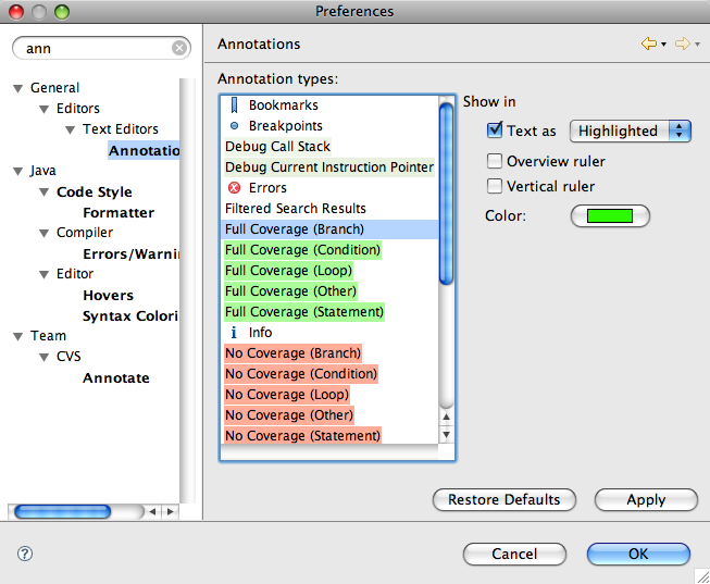 Screenshot of Annotation Preferences