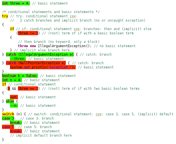 Screenshot of highlighting conditional